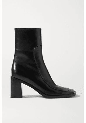 The Row - Patch Paneled Leather Ankle Boots - Black