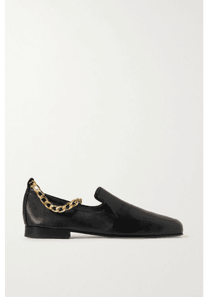 BY FAR - Nick Chain-embellished Glossed-leather Loafers - Black