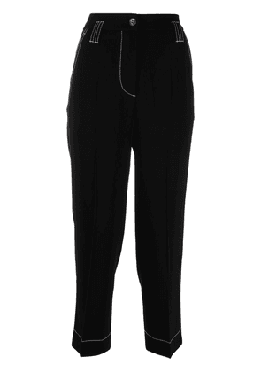 Brag-wette contrast-stitching cropped trousers - Black
