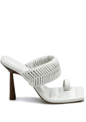 Gia Couture x RHW 100mm woven mules - White