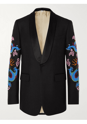 GUCCI - Black Embroidered Satin-Trimmed Wool and Mohair-Blend Tuxedo Jacket - Men - Multi - IT 46