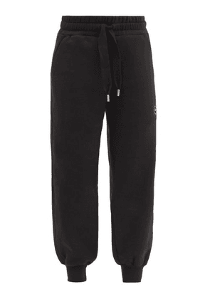 Adidas By Stella Mccartney - Logo-print Cuffed Organic-cotton Blend Track Pants - Womens - Black