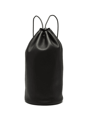 The Row - Massimo Drawstring Leather Backpack - Womens - Black