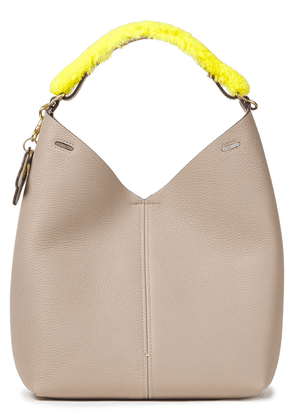 Anya Hindmarch Shearling-trimmed Pebbled-leather Shoulder Bag Woman Mushroom Size --