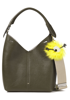 Anya Hindmarch Shearling-trimmed Pebbled-leather Shoulder Bag Woman Army green Size --