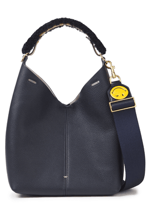 Anya Hindmarch Shearling-trimmed Pebbled-leather Shoulder Bag Woman Navy Size --
