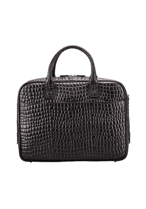 Maxwell Scott Bags Black Finest Faux Croc Leather Mens Soft Briefcase For Laptop