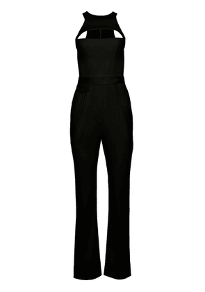 Brandon Maxwell - Women's Racerback Straight-Leg Wool Cutout Jumpsuit - Red/black - Moda Operandi