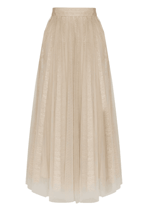 Brunello Cucinelli embroidered stripe tulle skirt - Neutrals