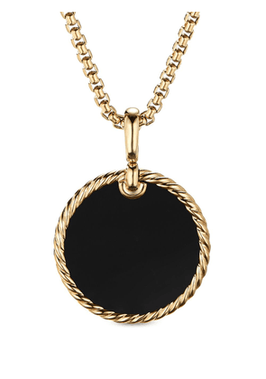 David Yurman 18kt yellow gold DY Elements mother-of-pearl and black onyx disc pendant necklace