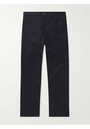 BLUE BLUE JAPAN - Tapered Cropped Textured-Cotton Suit Trousers - Men - Blue - S
