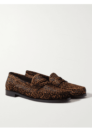 SAINT LAURENT - Logo-Appliquéd Leopard-Print Calf Hair Penny Loafers - Men - Brown - EU 40