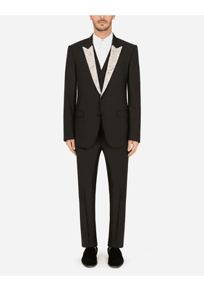 Dolce & Gabbana Suits - Martini tuxedo suit in wool and silk with appliqué BLACK male 52