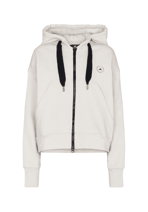 Zip-up cotton-blend hoodie