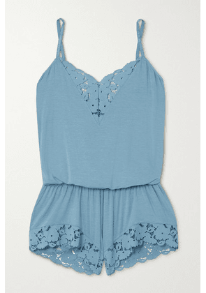 Eberjey - Naya Lace-trimmed Stretch-modal Playsuit - Blue