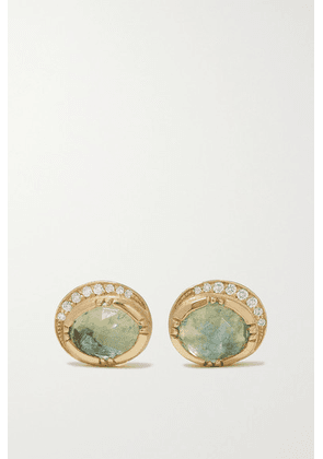 Brooke Gregson - Orbit Halo 18-karat Gold, Aquamarine And Diamond Earrings