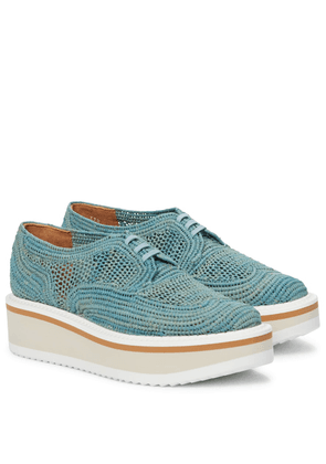 Birdie raffia platform Derby shoes