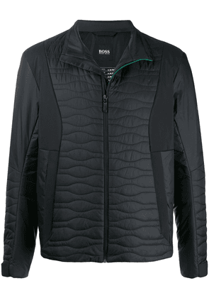BOSS quilted panel zip-up jacket - Black