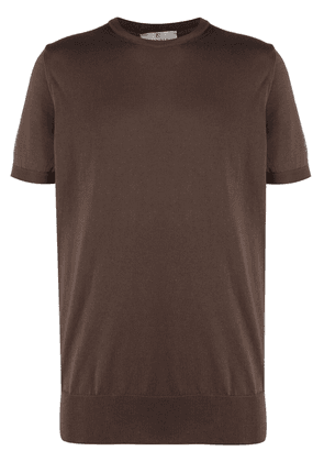 Canali crew-neck fitted T-shirt - Brown