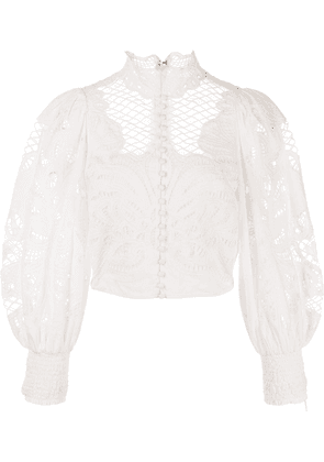 Alice+Olivia Yaz lace-panelled blouse - White