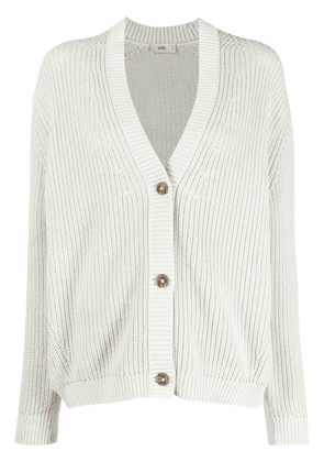 Closed V-neck knitted cardigan - Green