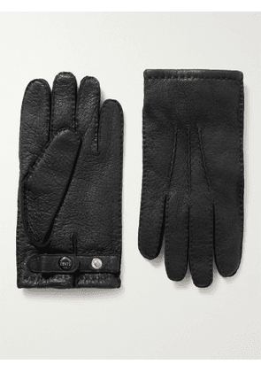 DENTS - Hampton Cashmere-Lined Full-Grain Leather Gloves - Men - Black - 8