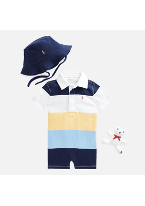 Polo Ralph Lauren Boys' Romper, Hat and Bear Gift Set - Empire Yellow Multi - 3 Months