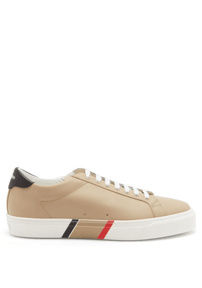 Burberry - Icon-stripe Leather Trainers - Mens - Brown Multi