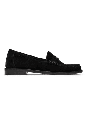 Saint Laurent Black Suede Le Loafer Monogram Penny Slippers
