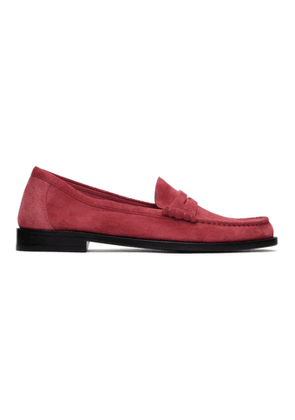 Saint Laurent Pink Suede Le Loafer Monogram Penny Slippers