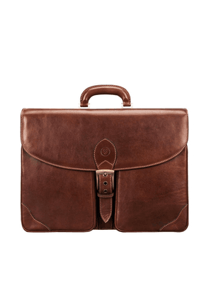 Maxwell Scott Bags Premium Italian Tan Brown Leather Mens 2-section Briefcase