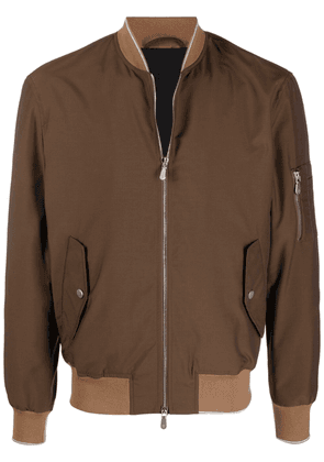 Eleventy two-tone zip-up bomber jacket - Brown