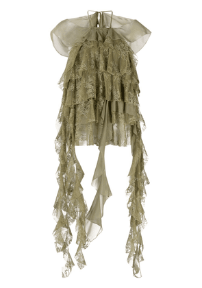 Blumarine ruffled-lace blouse - Green