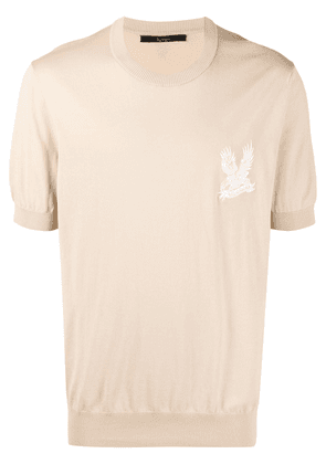 Billionaire falcon embroidery knitted T-shirt - Neutrals