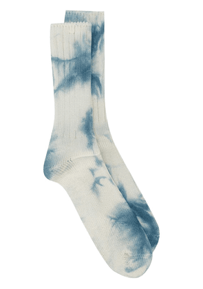 ANONYMOUS ISM Uneven tie-dye wool socks - White