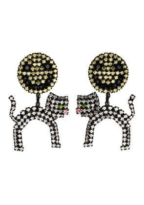 Ashley Williams Black and Yellow Smiley Cat Clip-On Earrings