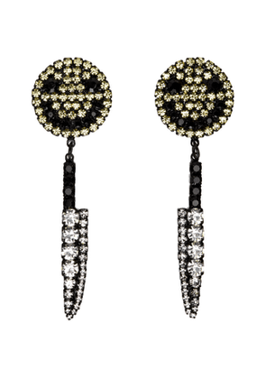 Ashley Williams Black and Yellow Smiley Knife Clip-On Earrings