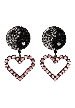 Ashley Williams Black and Pink Ying Yang Heart Clip-On Earrings