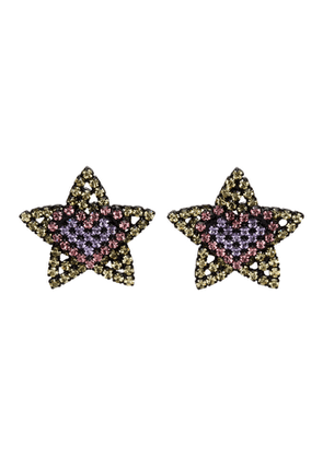 Ashley Williams Black and Yellow Star Heart Clip-On Earrings