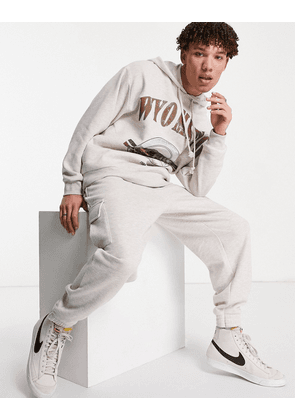 ASOS DESIGN co-ord oversized joggers with cargo pockets in beige marl-Neutral