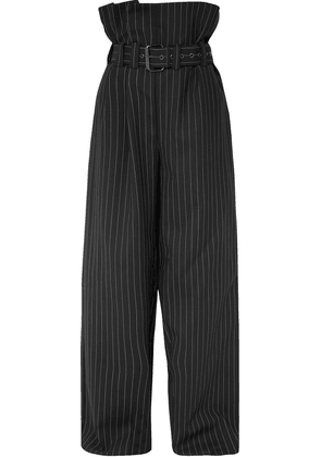 Gareth Pugh Belted Pinstriped Wool-blend Wide-leg Pants Woman Black Size 42