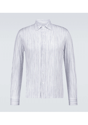 Long-sleeved striped cotton shirt