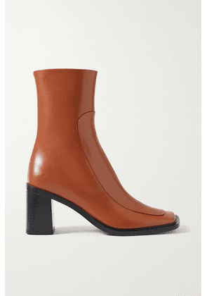 The Row - Patch Paneled Leather Ankle Boots - Tan