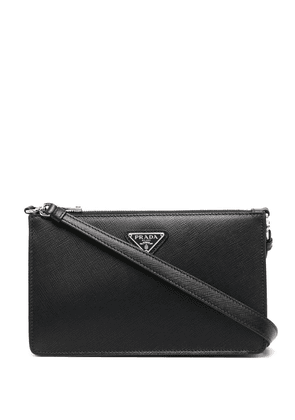 Prada logo-plaque clutch bag - Black
