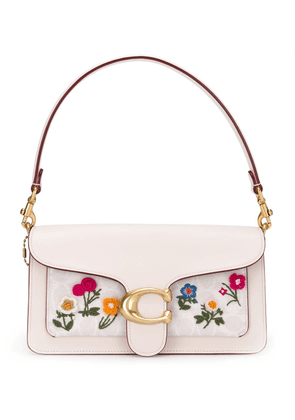 Coach embroidered baguette bag - White
