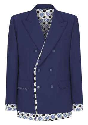 Dolce & Gabbana tie-print trim double-breasted blazer - Blue