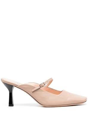 AGL square-toe leather mules - Pink