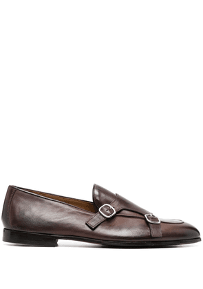 Doucal's monk-strap leather loafers - Brown