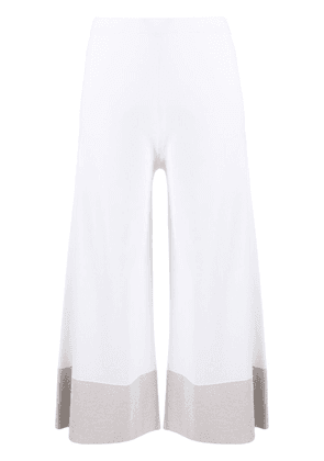 D.Exterior contrasting hem cropped trousers - White