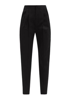 Saint Laurent - High-rise Wool-twill Tailored Trousers - Womens - Black